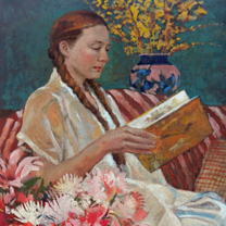 Woman with Chrysanthemums by Chris Duke