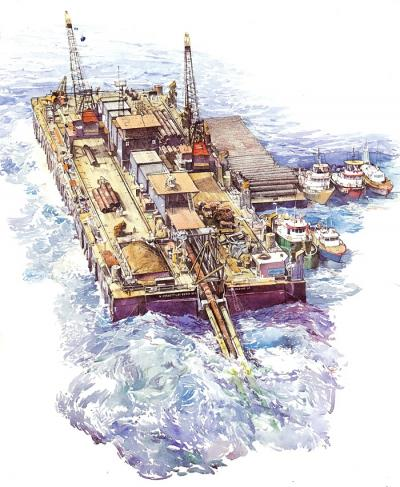 Barge Laying Pipe, North Atlantic by Chris Duke