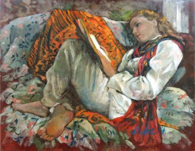 Woman with Orange Shawl - II by Chris Duke