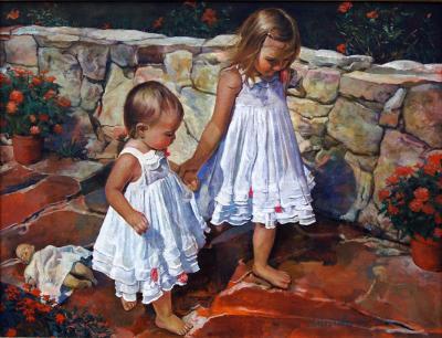 Jenna and Madison on Path by Chris Duke