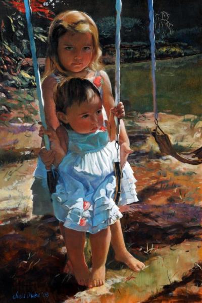 Jenna and Madison on Swing by Chris Duke